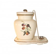 Creme 1 Gallon Ceramic Olive Grape Themed Container