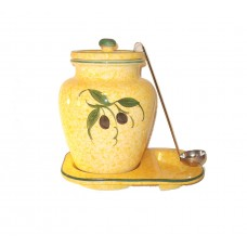 Yellow 1 Gallon Ceramic Olive Grape Themed Container